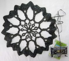 Cassette Tape for yarn!! Lol  #Crochet Doilies made from old cassette tapes!