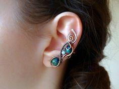 Záušnice z mědi s chryzokolem a měsíčním kamenem • galena-shop.cz Earrings, Shop, Jewelry, Ear Rings, Jewellery Making, Stud Earrings, Jewerly, Jewelery, Jewels