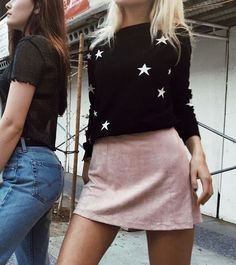 pink skirt and black and white star sweater