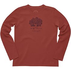 Life is Good T Shirts, clothing and accessories at Jakes Good Newport: Life is Good: WOMENS CRUSHER LONGSLEEVE:MESSAGE TREE-CHILI RED T-Shirts, Hats, Gear, Tees, Shorts, Pants, Dog Products, Accessories, other Clothing