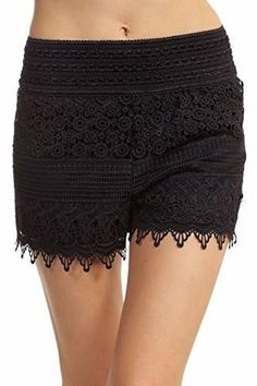 Women's Lace Shorts To Be In Style Crotchet Diamond Scalloped Floral
