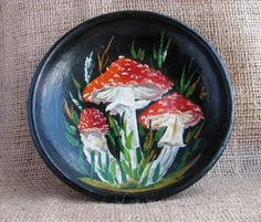 Decorative wooden plate, Painting on wood