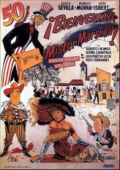"MP261. ""Bienvenido Mr. Marshall"" Spanish Movie Poster by Jano (José Luis García Berlanga 1953) / #Movieposter"