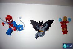 Muurschildering Lego superhelden: Spiderman, Batman en Ironman on Lizart  http://lizart.be/social-gallery/muurschildering-lego-superhelden