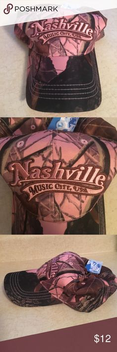 NWT Nashville Music City Camo Baseball Cap Brand new, never been worn, baseball hat/cap. Women's. Camo - brown and pink. Was gifted to me; however, I have way too many hats. Accessories Hats