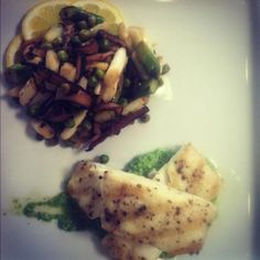 ... : Grilled Halibut with Roasted Summer Vegetables and Arugula Pesto
