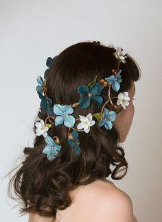 Floral Crown Head Piece - Cascading Veil of Turquoise Blue & Aqua Flowers - Woodland Wedding Wreath, Forest Nymph Circlet. $56.00, via Etsy.