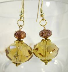 Large golden yellow crystal bead earrings. $16.00, via Etsy.