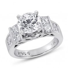 PassionStone, 14K White Gold SI2 Round Diamond Semi Mounting Ring With CZ Center, 1 1/2 ctw