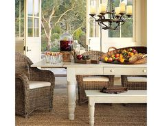 Design a beautiful dining space to entertain friends and family. Pottery Barn's dining tables and chairs are defined by exceptional craftsmanship. Wicker Furniture, Furniture Sets, Home Furniture, Wicker Chairs, Pine Chairs, Outdoor Furniture, Dining Room Design, Dining Room Table, Dining Rooms