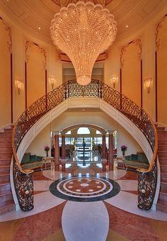 A Magnificent Palatial Mediterranean Mansion in Calabasas, Marble Staircase, Foyer Design, Staircase Design, Rich Home, Entry Foyer, Elegant Homes, Luxury Real Estate, Stairways, My Dream Home
