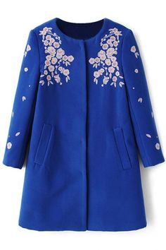 Fashion Embroidered Collarless Coat