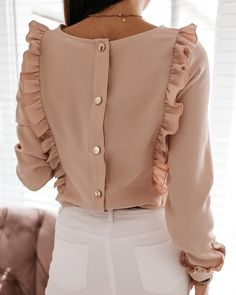 Women Ruffles White Back Buttons OL Blouse O-Neck Long Sleeve Solid Tops Female 2020 Spring Autumn Fashion Casual Blouses Ladies Spring Fashion Casual, Trend Fashion, Fashion Outfits, Style Fashion, Origin Clothing, Black Pink, Moda Casual, Mode Hijab, Blouse Designs
