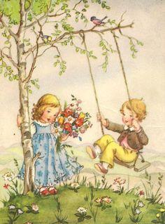 Liselotte Fabig Distling Decoupage, Vintage Greeting Cards, Vintage Postcards, Vintage Pictures, Vintage Images, Postcard Art, Vintage Drawing, Illustrations And Posters, Whimsical Art