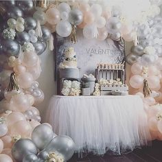 Peach & Gray balloon arch/backdrop.