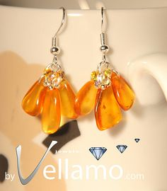 Sterling silver earrings with natural Baltic amber by byVellamo, $25.00