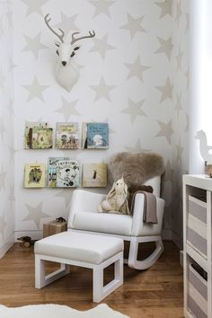 beloved bedtime stories as decor - great use of a picture rail.