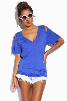 #1015store.com #fashion #style heather blue bejeweled cold shoulder open back tunic tee-$10.00