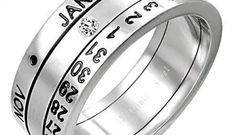 """Calendar ring. Molto glamour, ma allo stesso tempo ironico e originale il calendar ring è composto da tre fasce mobili: la prima riporta i numeri da 1 a 31, indicanti i giorni, la terza ha impressi i mesi infine quella centrale ha incastonato uno zircone che, posizionato in corrispondenza del giorno e del mese riportati sulle altre due fasce, ci """"dice"""" che giorno è. Davvero perfetto come regalo per l'anno nuovo. Via welldonestuff.com"""