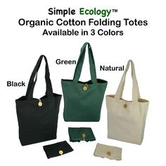 Simple Ecology Organic Cotton Folding Tote with Closure.