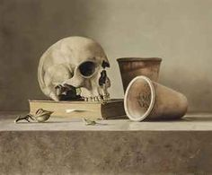 Dennis Mogelgaard (b. 1959) - Still life with skull - painting