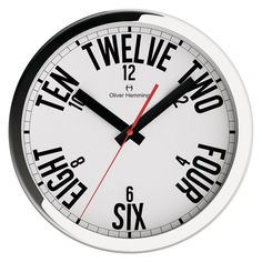 Oliver Hemming Wall Clock with Bold Number and Word Dial (12)