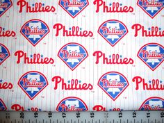 "You are bidding on a one piece (7""x 28"") of MLB Philadelphia Phillies cotton fabric."