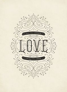 "betype: ""Love Is All You Need by Clairice Gifford "" Types Of Lettering, Lettering Styles, Brush Lettering, Lettering Design, Typography Quotes, Typography Inspiration, Graphic Design Inspiration, Calligraphy Letters, Typography Letters"