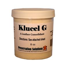 """Preservation Solutions' Klucel G is a leather consolident used to treat leather that is starting to deteriorate or become powdery from """"Red Rot"""""""