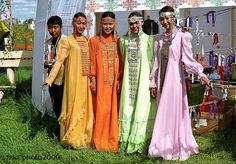 Young Yakut women in traditional dresses