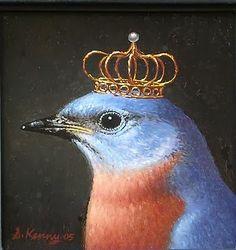 Royal Bluebird : Oil on Panel Steven Kenny ~ Lovely. Art Fantaisiste, Art Et Illustration, Illustrations, Pet Costumes, Tier Fotos, Whimsical Art, Bird Art, Beautiful Birds, Pet Portraits
