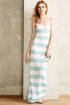Anthropologie - Sweater Stripe Maxi Dress. Love that shade of light blue and the halter back.
