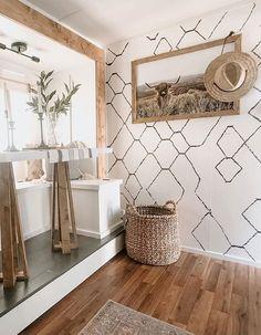 Tyni House, Tiny House Living, Rv Living, Travel Trailer Decor, Travel Trailer Remodel, Moroccan Wallpaper, Rv Homes, Rv Interior, Camper Makeover