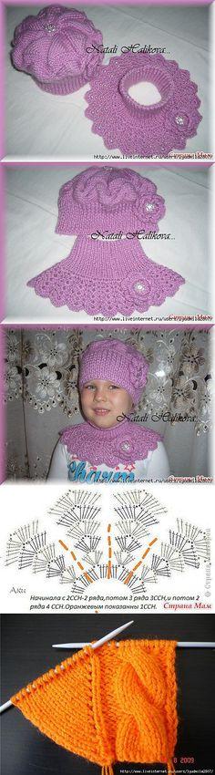Crochet Patterns Girl Set for the daughter 'Lilac Haze' Crochet Baby Poncho, Crochet Collar, Crochet Girls, Crochet Shawl, Baby Knitting, Knit Crochet, Crochet Stitches Patterns, Crochet Designs, Knitting Patterns