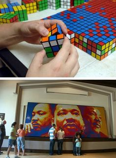 19-foot Martin Luther King Mosaic made from 4000 Rubik's Cubes