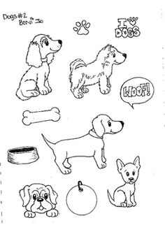 Use these dogs to decorate your classroom or paperwork. Please put a link back to my page for using my doodles. Dog Drawings, Easy Drawings, Coloring Sheets, Coloring Pages, Animal Templates, Shrinky Dinks, Favorite Things, Stamps, Doodles
