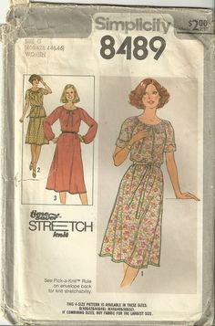 Classy Patterns - Simplicity 8489 Vintage Pullover Dress Top & Skirt Sewing Pattern Plus Size 22-28