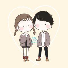 Cute Cartoon Drawings, Kawaii Drawings, Boy And Girl Drawing, Cute Couple Cartoon, Cute Chibi, Cute Illustration, Cute Wallpapers, Cute Art, Art For Kids