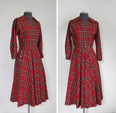 Full Plaid   50s Red Plaid Dress Fitted with Full Skirt by GuermantesVintage