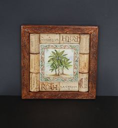 Wine Cork and Palm Tree Tile Trivet by GulfCoasters on Etsy