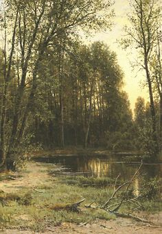 River backwater in the forest - Ivan Shishkin, 1890 Russian Landscape, Landscape Art, Landscape Paintings, Russian Painting, Russian Art, Forest Painting, Classic Paintings, Watercolor Trees, Pine Forest