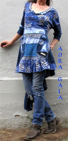AuraGaia's Spring 2~ Poorgirl Upcycled Layering or Not Tunic Top Dress S-1X Plus