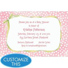 Pink Polka Dots with Bow Custom Baby Shower Invitation