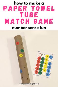 How to make a DIY paper towel tube number matching game! This is an easy and fun upcycled learning activities for toddlers and preschool. Work number sense and fine motor skills while your child does independent play! Paper towel tube learning activity for kids. Number sense activities for kids. Recycled toys. #numbersense #papertowelrollcraft #upcycledcraft #learningactivity #mathgames Team-Cartwright.com Number Games For Toddlers, Paper Games For Kids, Learning Numbers Preschool, Learning Games For Toddlers, Number Sense Activities, Lesson Plans For Toddlers, Numbers For Kids, Preschool Games, Number Matching