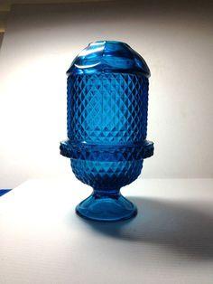 VINTAGE FAIRY LAMP VIKING ART GLASS DIAMOND POINT GLIMMER LIGHT BLUE .