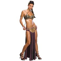 Womens Star Wars Princess Leia Slave Costume ($60) ❤ liked on Polyvore featuring costumes, halloween costumes, multicolor, purple halloween costumes, gold costume, sexy leia costume, warrior costume and sexy star wars costumes