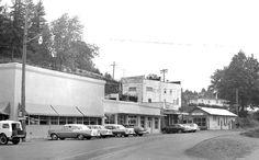 Cars line Wall Street, Mill City, Oregon - 1961