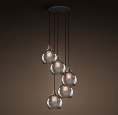 20th C. Factory Filament Smoke Glass Café 5-Cord Round Pendant - Aged Steel