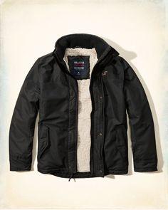 Hollister All Weather Fleece Lined Men's Jacket Coat Deep Red ...