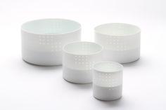 """Inhwa Lee """"Light of Dot - Cylinder set"""" Porcelain, Piercing, Wheel throwing, 1280℃ Reduction Firing, Polishing"""
